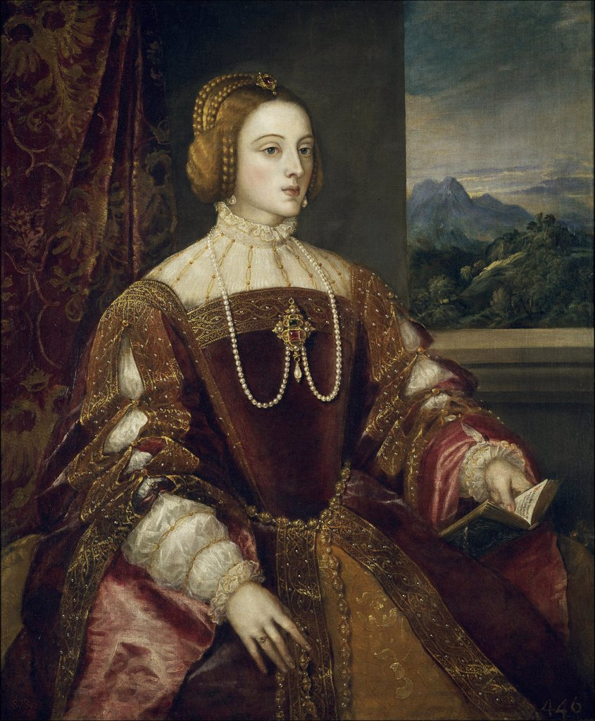 Stock Photo: 4266-2143 Portrait of woman by Titian, oil on canvas, 1548, 1488-1576, Spain, Madrid, Museo del Prado, 117x93