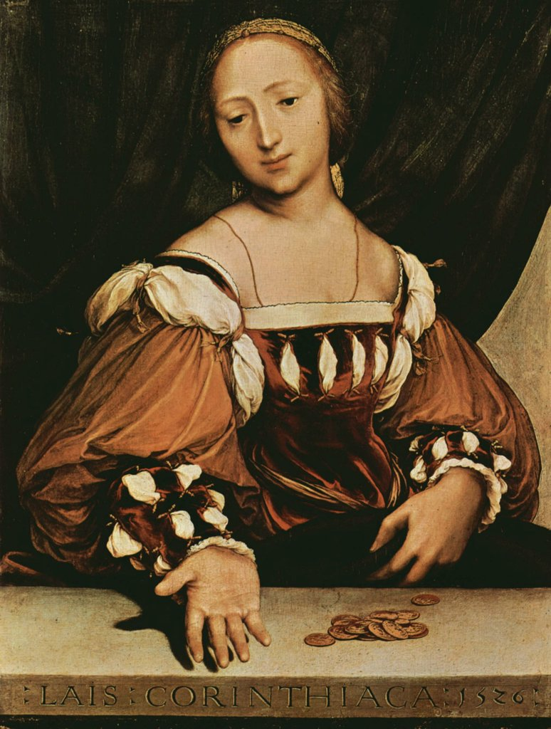 Stock Photo: 4266-2144 Portrait of prostitute by Hans Holbein the Younger, oil on wood, 1526, 1497-1543, Switzerland, Basel, Art Museum, 35, 5x26, 7