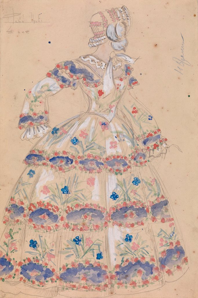 Costume Design for the Play 'A Profitable Post' by Alexander Ostrovsky by Malobrodsky, Mikhail (1909-1987)/ Private Collection/ 1949/ Russia/ Watercolour, Gouache on Paper/ Theatrical scenic painting/ 34x23/ Opera, Ballet, Theatre : Stock Photo