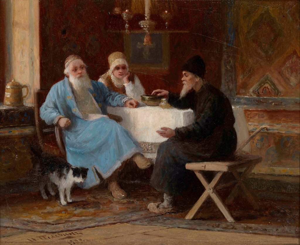 Stock Photo: 4266-21480 Conversation by Pelevin, Ivan Andreyevich (1840-1917)/ Private Collection/ 1909/ Russia/ Oil on wood/ Russian Painting, End of 19th - Early 20th cen./ 15x20/ Genre
