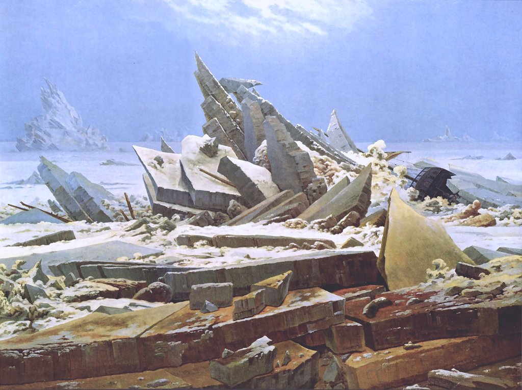 Stock Photo: 4266-2153 Polar sea by Caspar David Friedrich, oil on canvas, 1823-1824, 1774-1840, Germany, Hamburg, Kunsthalle, 126, 9x96