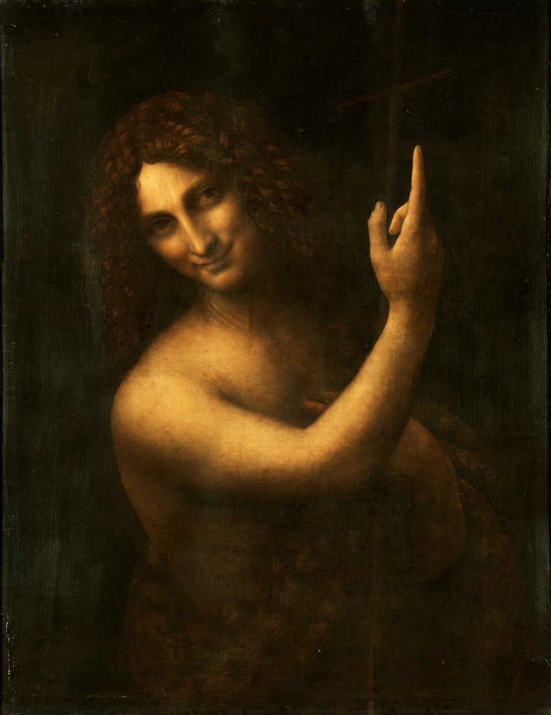 Stock Photo: 4266-21533 Saint John the Baptist by Leonardo da Vinci (1452-1519)/ Louvre, Paris/ 1513-1516/ Italy, Florentine School/ Oil on wood/ Renaissance/ 69?57/ Bible