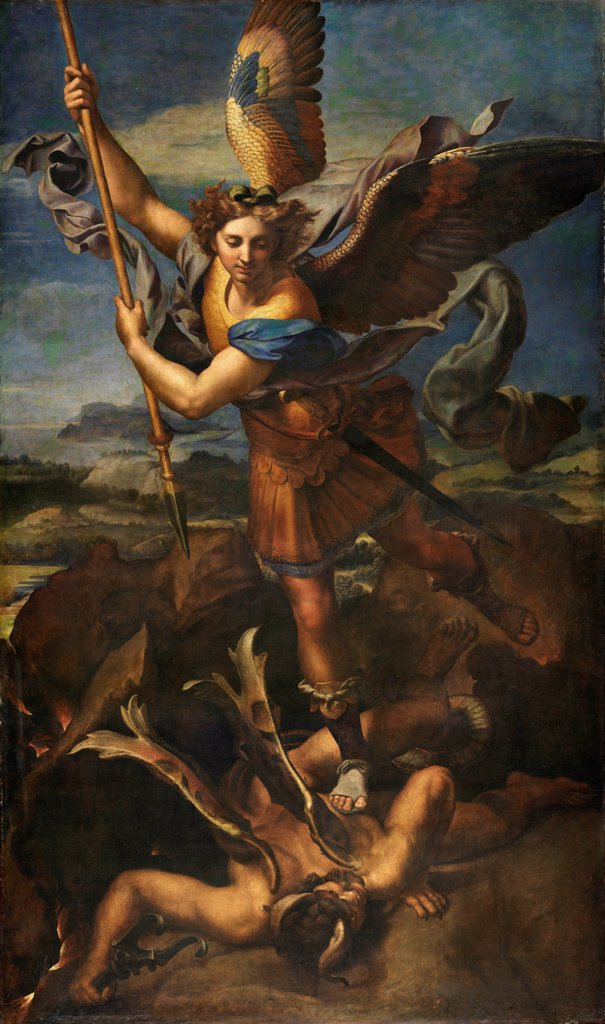 Stock Photo: 4266-21537 Saint Michael Vanquishing Satan by Raphael (1483-1520)/ Louvre, Paris/ 1518/ Italy, Roman School/ Oil on canvas/ Renaissance/ 268x160/ Bible