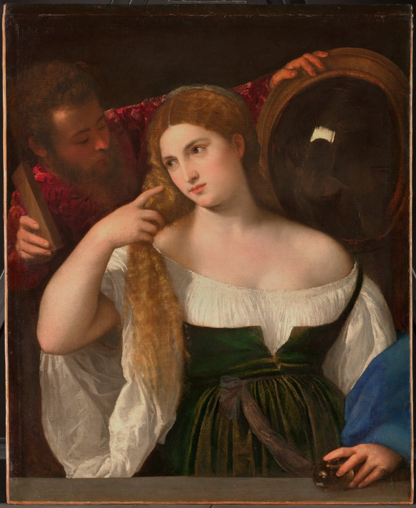 Stock Photo: 4266-21541 Young Woman at her Toilette by Titian (1488-1576)/ Louvre, Paris/ ca 1515/ Italy, Venetian School/ Oil on canvas/ Renaissance/ 96x76/ Genre