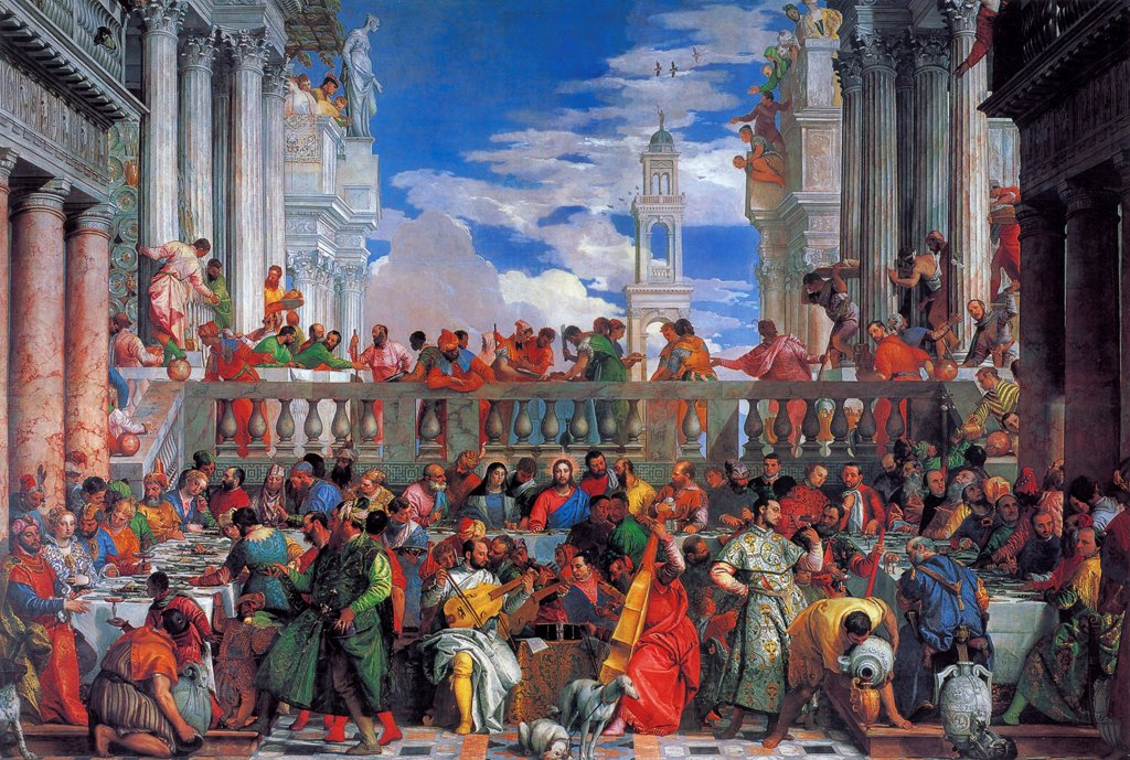 The Wedding Feast at Cana by Veronese, Paolo (1528-1588)/ Louvre, Paris/ 1563/ Italy, Venetian School/ Oil on canvas/ Renaissance/ 666x990/ Bible : Stock Photo