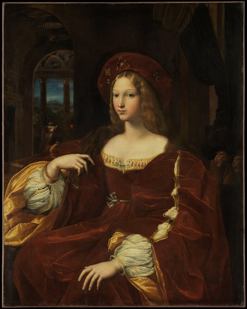 Portrait de Dona Isabel de Requesens, vice-reine de Naples (1500-1577) by Raphael (1483-1520)/ Louvre, Paris/ ca 1518/ Italy, Roman School/ Oil on canvas/ Renaissance/ 95x120/ Portrait : Stock Photo