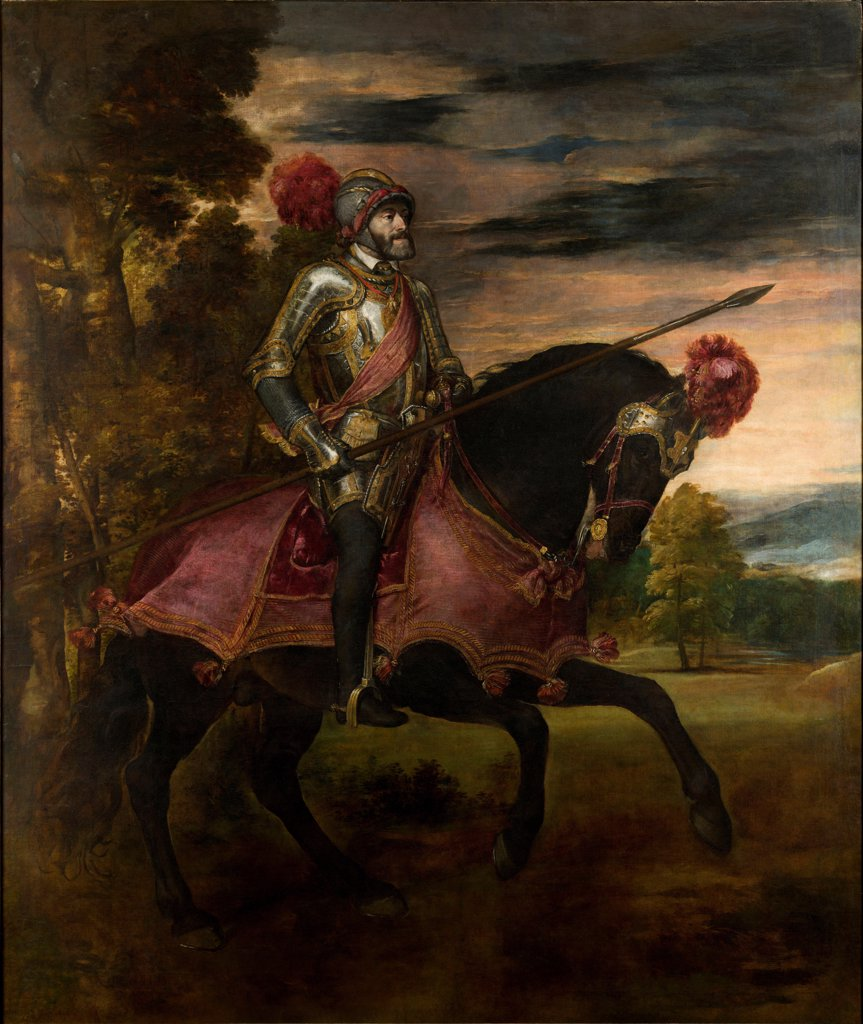 Stock Photo: 4266-21553 Equestrian Portrait of Charles V of Spain (1500-1558) by Titian (1488-1576)/ Museo del Prado, Madrid/ 1548/ Italy, Venetian School/ Oil on canvas/ Renaissance/ 332?279/ Portrait