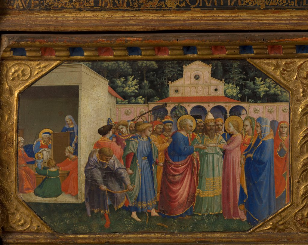 Stock Photo: 4266-21555 Mary and Joseph (The Annunciation retable with 5 Predella scenes) by Angelico, Fra Giovanni, da Fiesole (ca. 1400-1455)/ Museo del Prado, Madrid/ 1430-1432/ Italy, Florentine School/ Tempera on panel/ Renaissance/ Bible