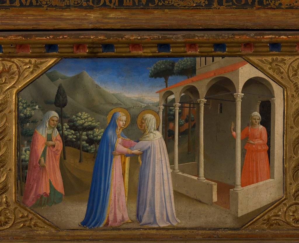 Stock Photo: 4266-21556 The Visitation (The Annunciation retable with 5 Predella scenes) by Angelico, Fra Giovanni, da Fiesole (ca. 1400-1455)/ Museo del Prado, Madrid/ 1430-1432/ Italy, Florentine School/ Tempera on panel/ Renaissance/ Bible
