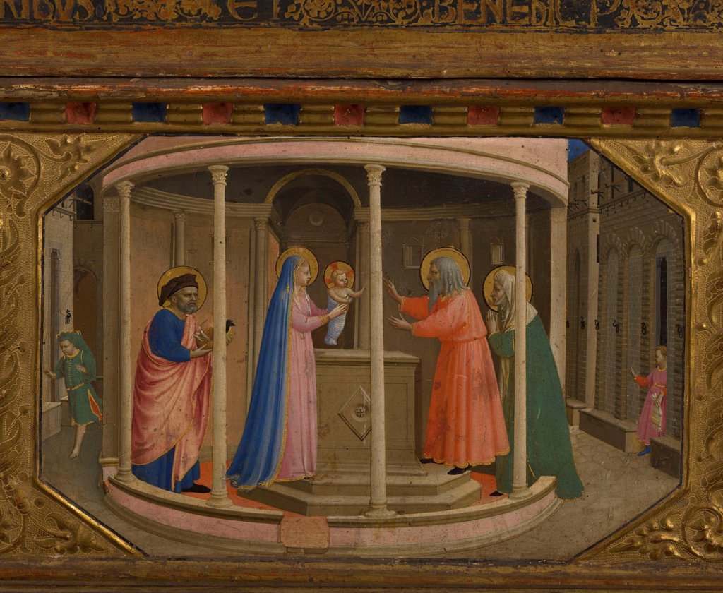 The Presentation in the Temple (The Annunciation retable with 5 Predella scenes) by Angelico, Fra Giovanni, da Fiesole (ca. 1400-1455)/ Museo del Prado, Madrid/ 1430-1432/ Italy, Florentine School/ Tempera on panel/ Renaissance/ Bible : Stock Photo