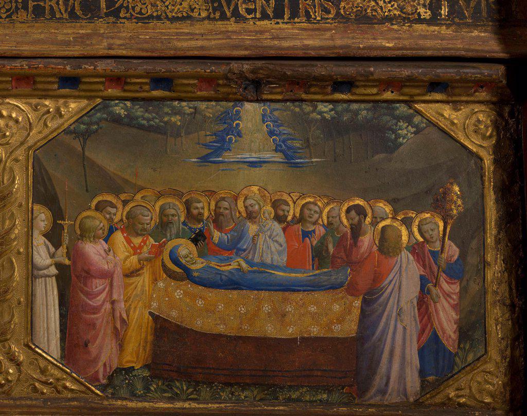 Stock Photo: 4266-21559 The Death of the Virgin (The Annunciation retable with 5 Predella scenes) by Angelico, Fra Giovanni, da Fiesole (ca. 1400-1455)/ Museo del Prado, Madrid/ 1430-1432/ Italy, Florentine School/ Tempera on panel/ Renaissance/ Bible