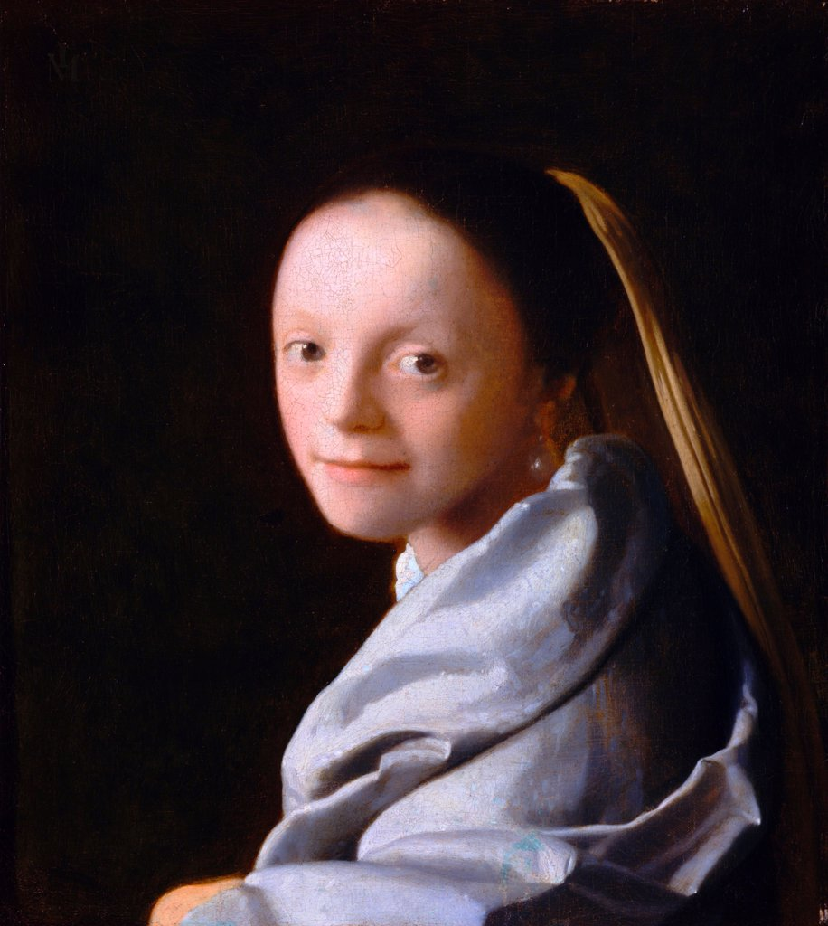 Stock Photo: 4266-21570 Study of a Young Woman by Vermeer, Jan (Johannes) (1632-1675)/ Metropolitan Museum of Art, New York/ ca. 1665-1667/ Holland/ Oil on canvas/ Baroque/ 44,5x40/ Portrait