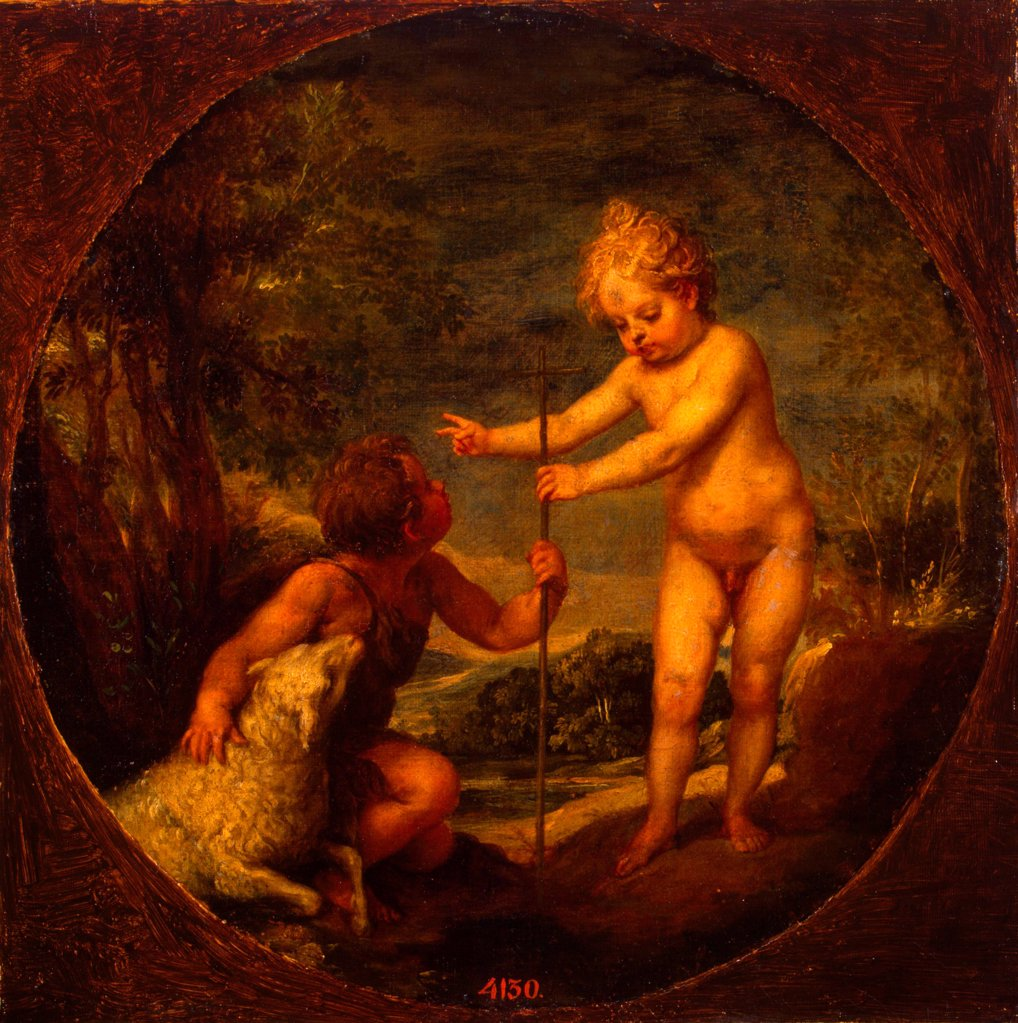 Christ and John the Baptist as Children by Cano, Alonso (1601-1667)/ State Hermitage, St. Petersburg/ ca 1665/ Spain/ Oil on canvas/ Baroque/ 42,5x42,5/ Genre : Stock Photo