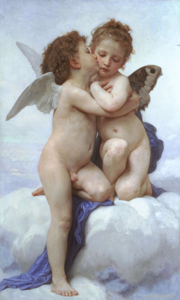 Cupid and Psyche by William-Adolphe Bouguereau, oil on canvas, 1890, 1825-1905, private collection, 119, 5x71 : Stock Photo