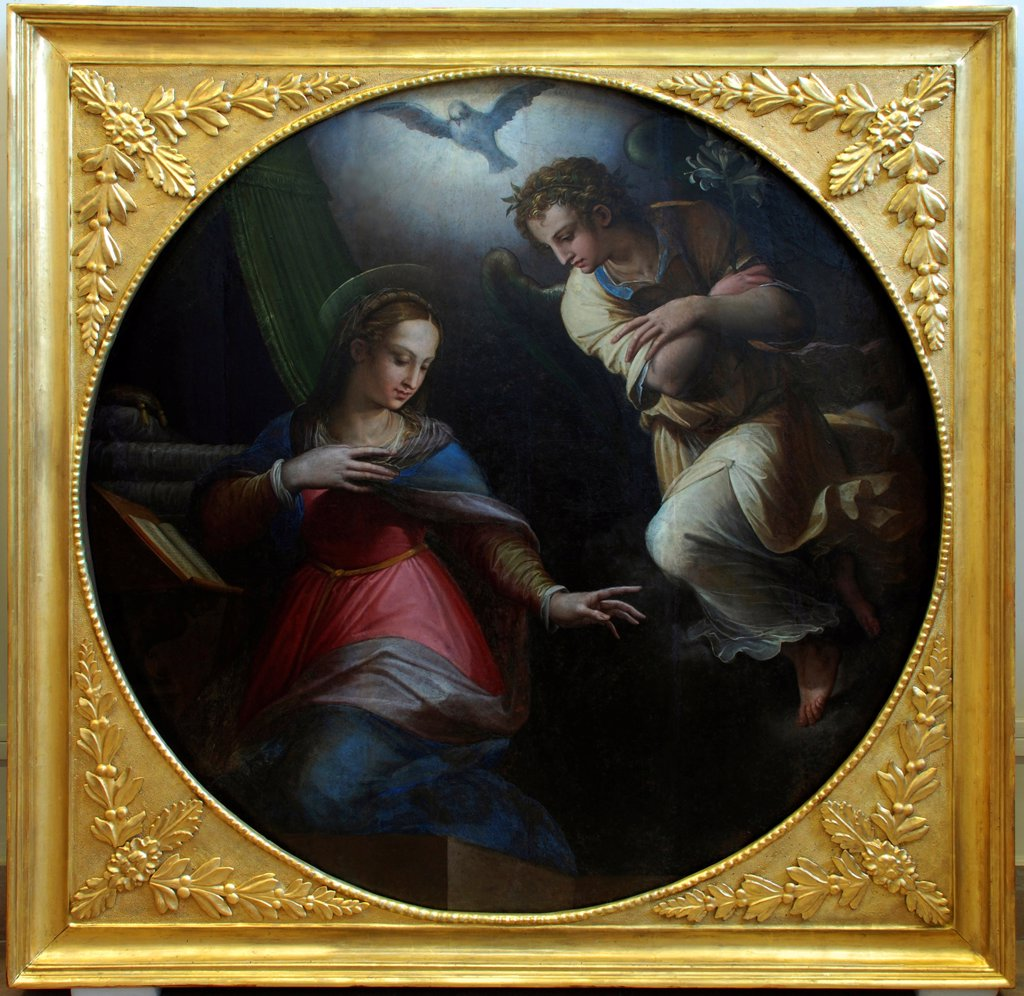 Stock Photo: 4266-21632 The Annunciation by Vasari, Giorgio (1511-1574)/ Mora Ferenc Muzeum, Szeged/ 1570-1571/ Italy, Florentine School/ Oil on canvas/ Mannerism/ D 157/ Bible