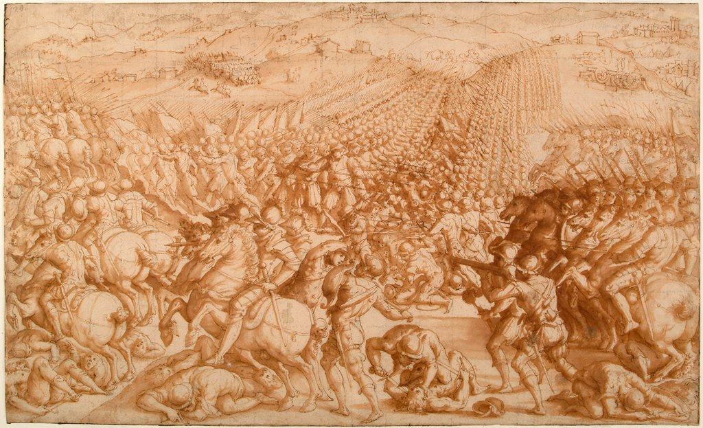 Stock Photo: 4266-21633 The Battle of Marciano by Vasari, Giorgio (1511-1574)/ Gabinetto Nazionale delle Stampe, Rome/ 1570s/ Italy, Florentine School/ Pencil, brush, sepia on paper/ Mannerism/ 25,5x42,2/ History