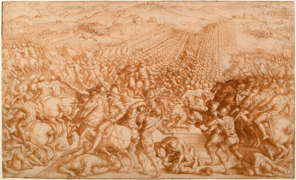The Battle of Marciano by Vasari, Giorgio (1511-1574)/ Gabinetto Nazionale delle Stampe, Rome/ 1570s/ Italy, Florentine School/ Pencil, brush, sepia on paper/ Mannerism/ 25,5x42,2/ History : Stock Photo
