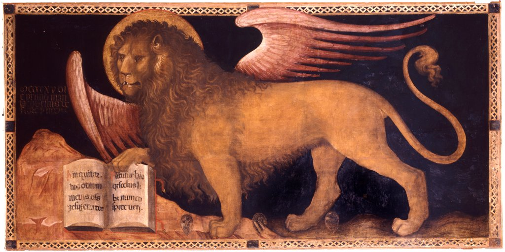 Stock Photo: 4266-21634 The Lion of Saint Mark by Jacobello del Fiore (ca 1370 _ 1439)/ Palazzo Ducale, Venice/ Italy, Venetian School/ Oil on canvas/ Renaissance/ 167x340/ Mythology, Allegory and Literature