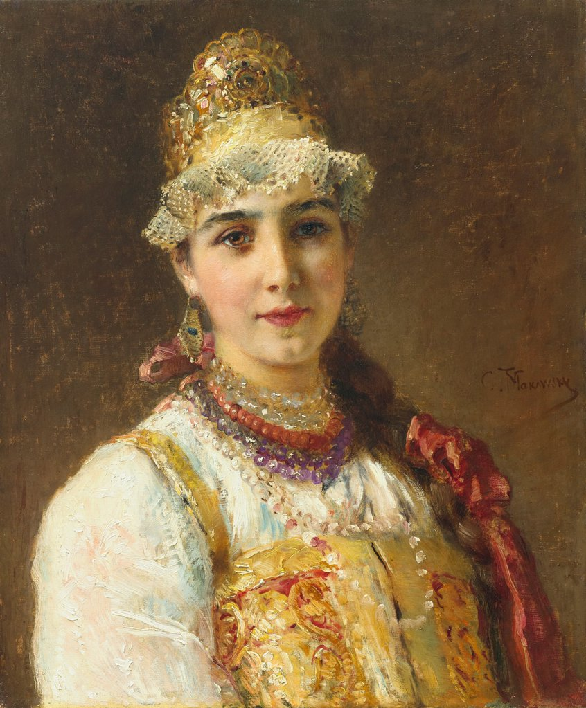 Stock Photo: 4266-21694 Boyar's Wife by Makovsky, Konstantin Yegorovich (1839-1915)/ Private Collection/ 1880s/ Russia/ Oil on canvas/ Russian Painting of 19th cen./ 60,3x50,2/ Portrait,Genre