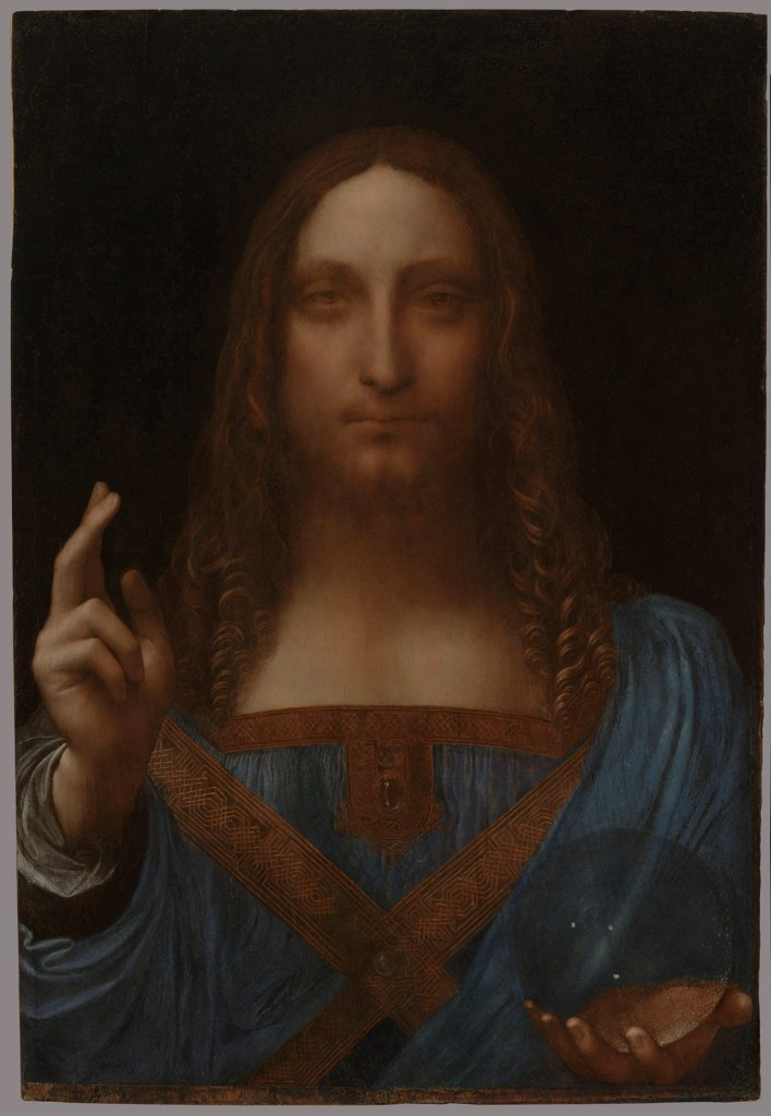 Stock Photo: 4266-21695 Christ as Salvator Mundi by Leonardo da Vinci (1452-1519)/ Private Collection/ ca 1499/ Italy, Florentine School/ Oil on wood/ Renaissance/ 65,5x45,1/ Bible