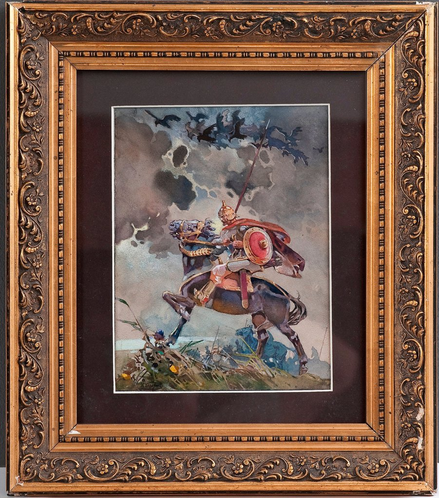 Horseman by Karasin, Nikolai Nikolayevich (1842-1908)/ Private Collection/ Russia/ Watercolour on paper/ History painting/ 22,5x17/ Mythology, Allegory and Literature : Stock Photo