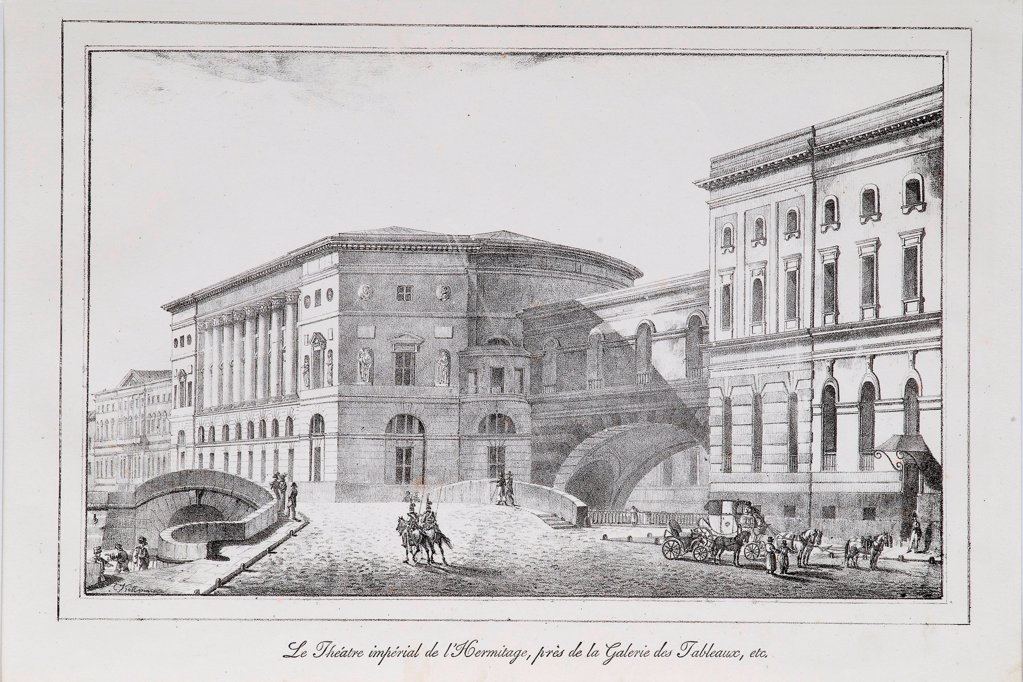 Stock Photo: 4266-21699 The Hermitage Theatre in Saint Petersburg (Series 'Views of Saint Petersburg') by Pluchart, Alexander (1777-1827)/ Private Collection/ 1820s/ Germany/ Lithograph/ Classicism/ Architecture, Interior,Landscape