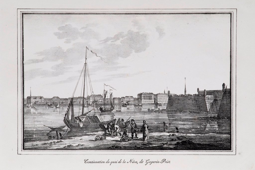 Stock Photo: 4266-21706 The Petrovsky quay in St. Petersburg, the so-called Gagarinsky brawler (Series 'Views of Saint Petersburg') by Pluchart, Alexander (1777-1827)/ Private Collection/ 1820s/ Germany/ Lithograph/ Classicism/ Architecture, Interior,Landscape