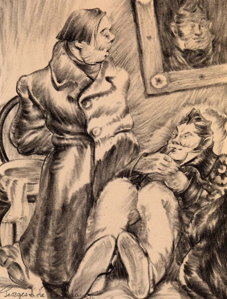 Stock Photo: 4266-21727 Illustration for the story Marriage by N. Gogol by Pozhedaev, Georgi Anatolyevich (1894-1977)/ Private Collection/ Russia/ Watercolour on paper/ Book design/ 22x17/ Mythology, Allegory and Literature