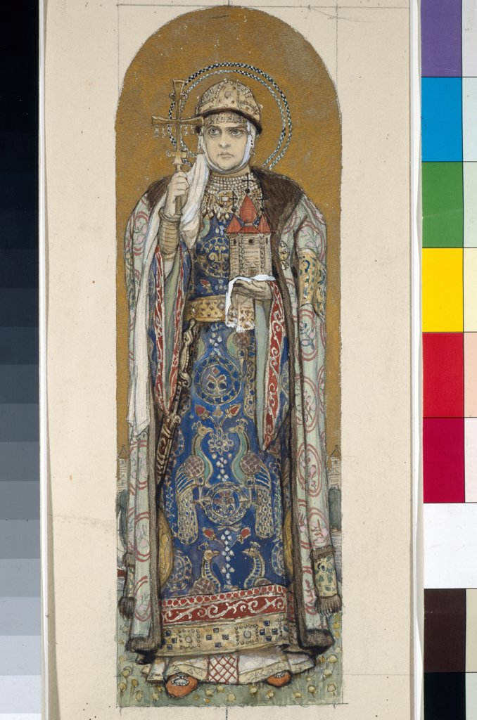 Saint Olga, Princess of Kiev (Study for frescos in the St Vladimir's Cathedral of Kiev) by Vasnetsov, Viktor Mikhaylovich (1848-1926)/ State Tretyakov Gallery, Moscow/ 1884-1889/ Russia/ Watercolour, gouache, gold und white colours on paper/ Art Nouveau/ : Stock Photo