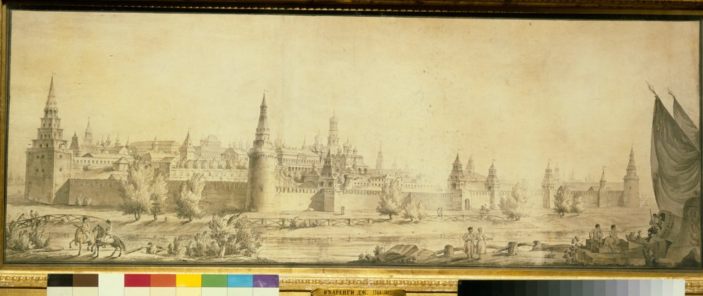 Stock Photo: 4266-21757 Panoramic view of Moscow Kremlin by the End of the 18th century by Quarenghi, Giacomo Antonio Domenico (1744-1817)/ State Tretyakov Gallery, Moscow/ End 1790s/ Italy/ Pen, brush, brown colour, black chalk, water colour on paper/ Classicism/ 41,5x110,5/ A