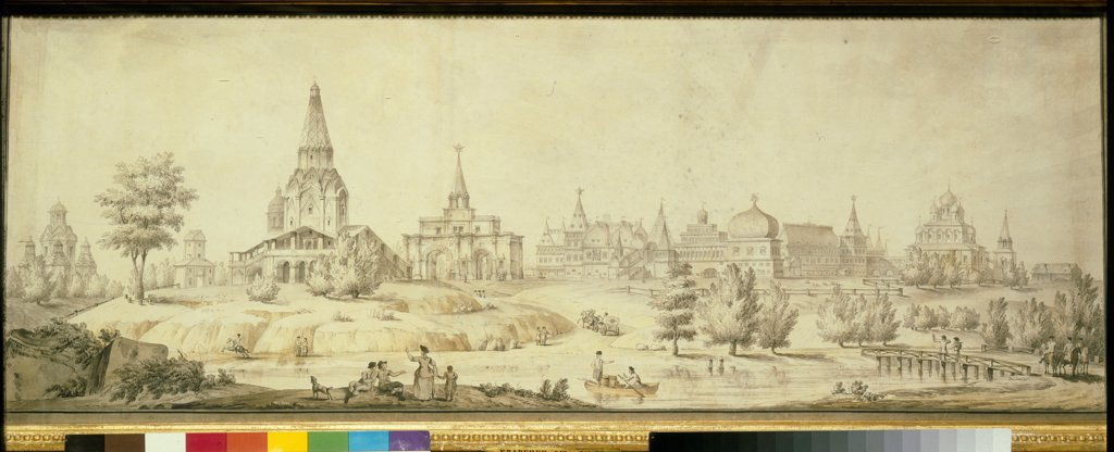 Stock Photo: 4266-21758 View of Kolomenskoye by Quarenghi, Giacomo Antonio Domenico (1744-1817)/ State Tretyakov Gallery, Moscow/ 1795/ Italy/ Pen, brush, watercolour, ink and white colour on paper/ Classicism/ 42,7x113/ Architecture, Interior,Landscape