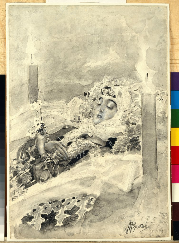 Stock Photo: 4266-21819 Tamara in the coffin. Illustration to the poem 'The Demon' by Mikhail Lermontov by Vrubel, Mikhail Alexandrovich (1856-1910)/ State Tretyakov Gallery, Moscow/ 1890-1891/ Russia/ Watercolour and white colour on paper/ Symbolism/ 28x19/ Mythology, Allegory
