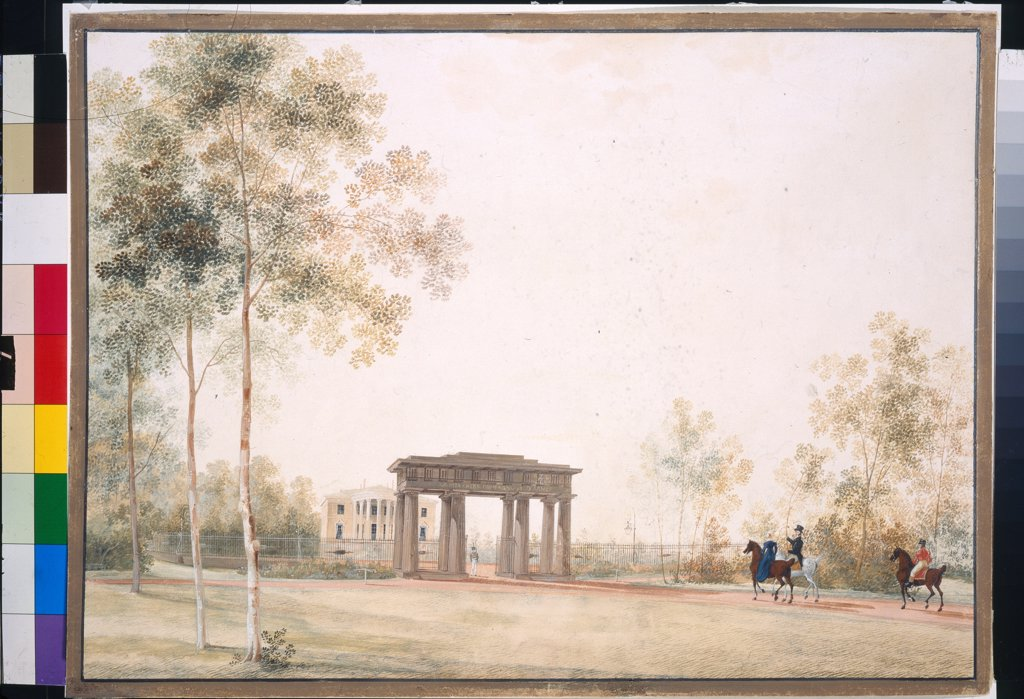 Gateway to the Park in Tsarskoye Selo by Martynov, Andrei Yefimovich (1768-1826)/ State Tretyakov Gallery, Moscow/ after 1821/ Russia/ Gouache on paper/ Classicism/ 38,5x51,5/ Architecture, Interior,Landscape : Stock Photo
