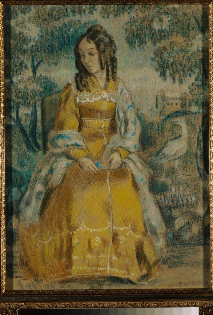 Stock Photo: 4266-21840 Lady by Tapestry. Portrait of Nadezhda Stanyukovich by Borisov-Musatov, Viktor Elpidiforovich (1870-1905)/ State Tretyakov Gallery, Moscow/ 1903/ Russia/ Pastel on paper/ Symbolism/ 57,5x42/ Portrait,Genre