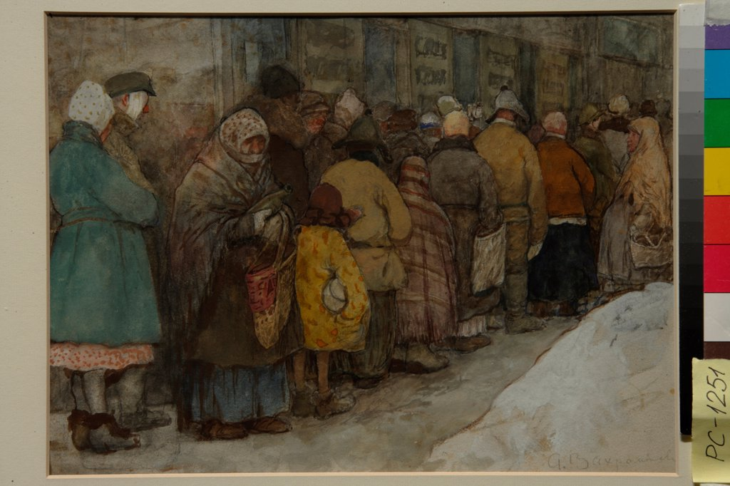 Stock Photo: 4266-21894 The Queue by Vakhrameyev, Alexander Ivanovich (1874-1926)/ State Tretyakov Gallery, Moscow/ ca 1921/ Russia/ Watercolour, white colour, black chalk on paper/ Realism/ 22x29,5/ Genre,History