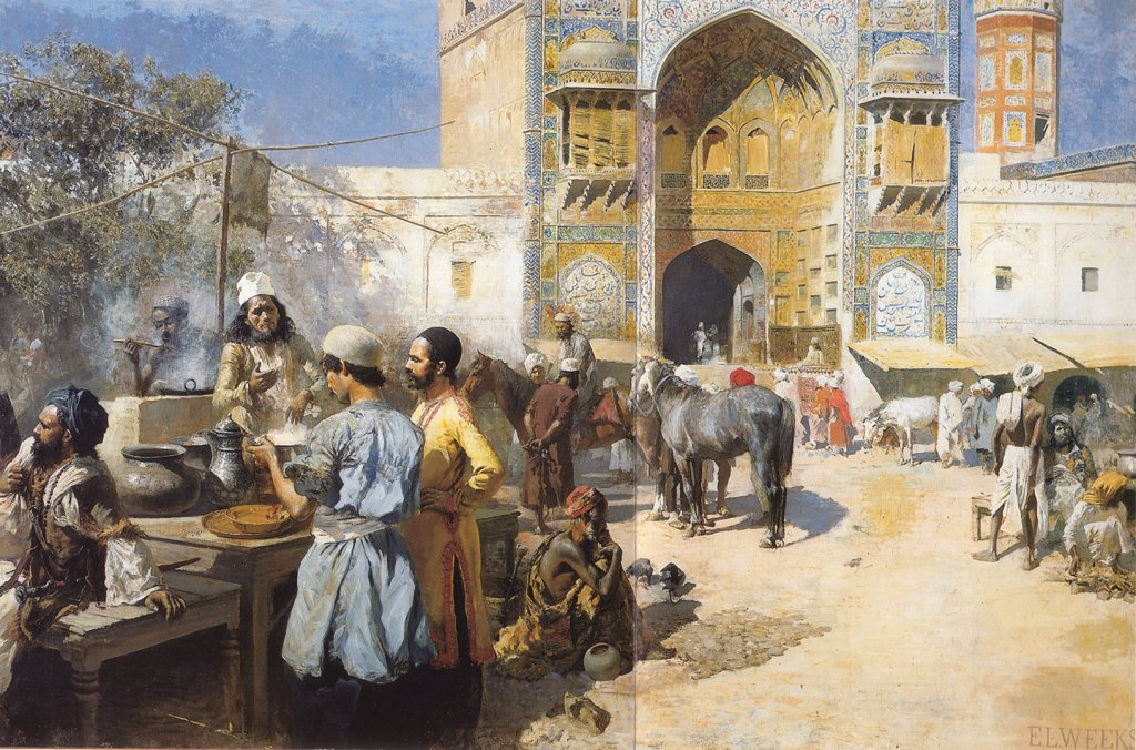 Street scene by Edwin Lord Weeks, oil on canvas, circa 1889, 1849-1903, private collection, 157, 5x245 : Stock Photo