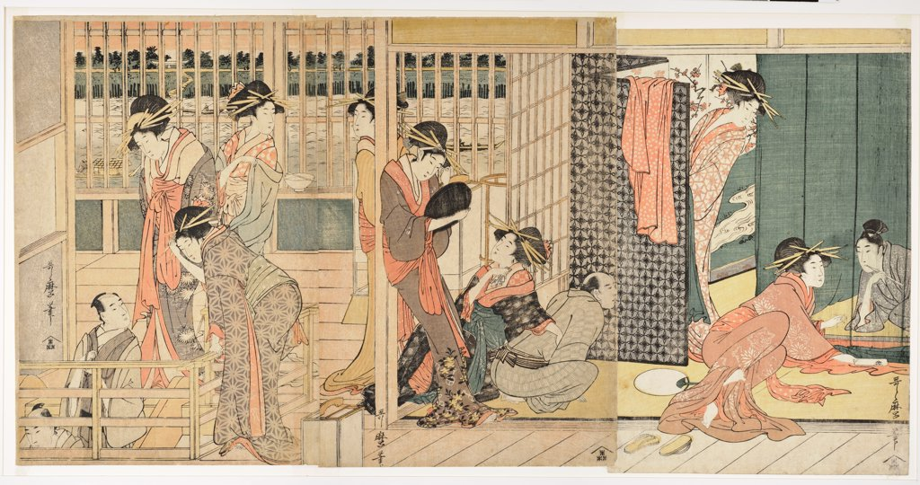 Stock Photo: 4266-21935 Morning Parting at the Temporary Lodgings of the Pleasure Quarter by Utamaro, Kitagawa (1753-1806)/ Honolulu Academy of Arts/ 1801/ Japan/ Colour linocut/ The Oriental Arts/ 37,4x74/ Genre