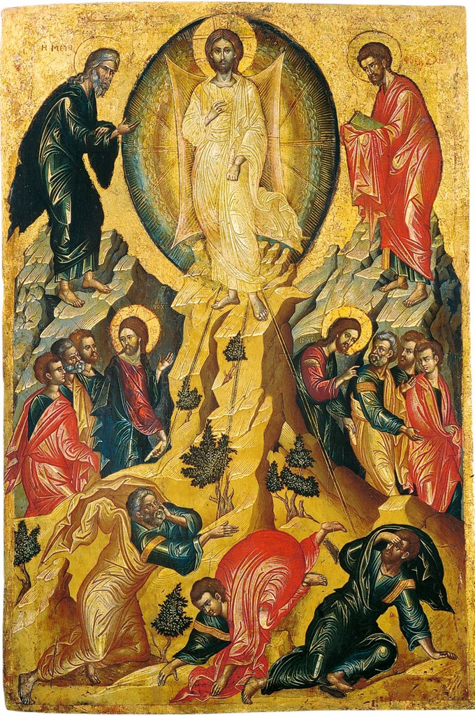 The Transfiguration of Jesus by Anonymous  / Ikonen Museum Recklinghausen/ Mid of 16th cen./ Greece/ Tempera on panel/ Icon Painting/ 76,5x51/ Bible : Stock Photo