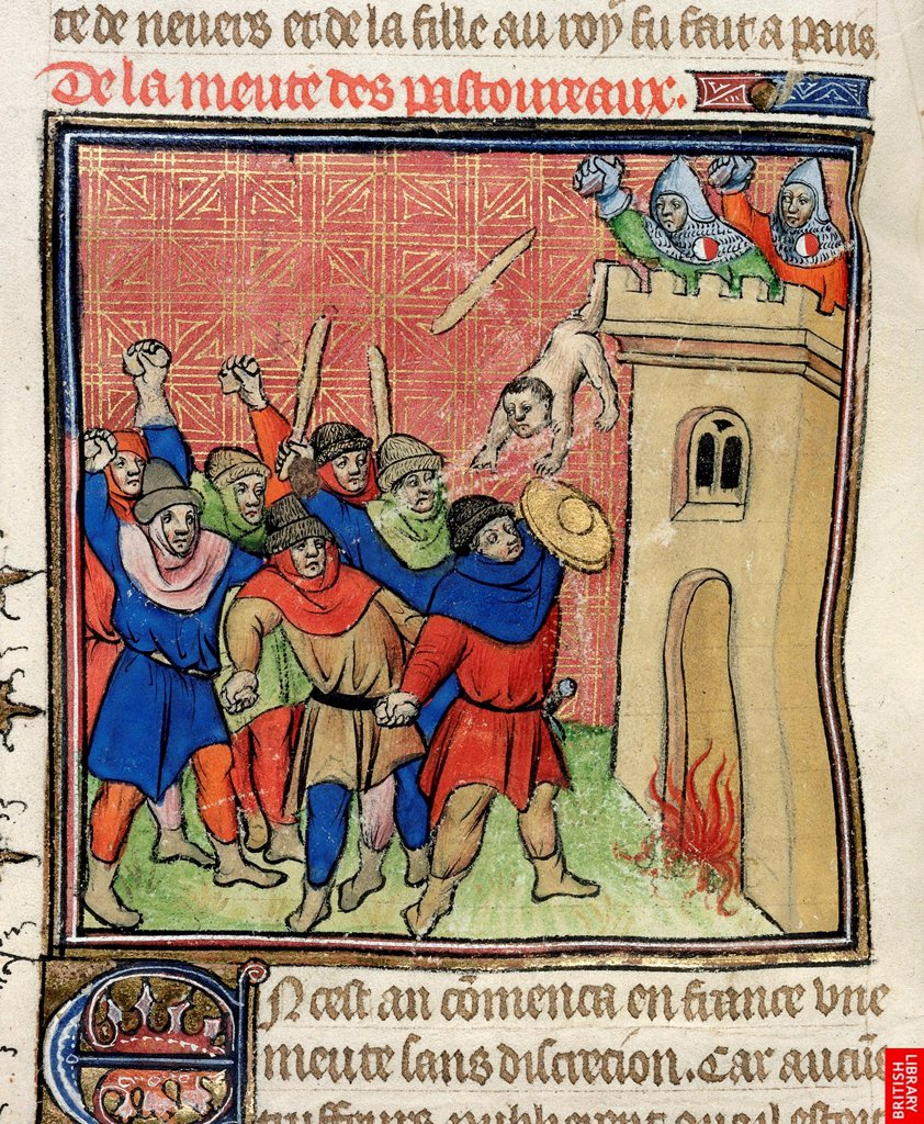 Stock Photo: 4266-21960 Detail of a miniature of the Third Crusade of Pastoureaux. Jews throwing their children from a tower by Virgil Master (active 1380-1420)/ Private Collection/ after 1380/ France/ Watercolour on parchment/ Gothic/ 25x18/ History