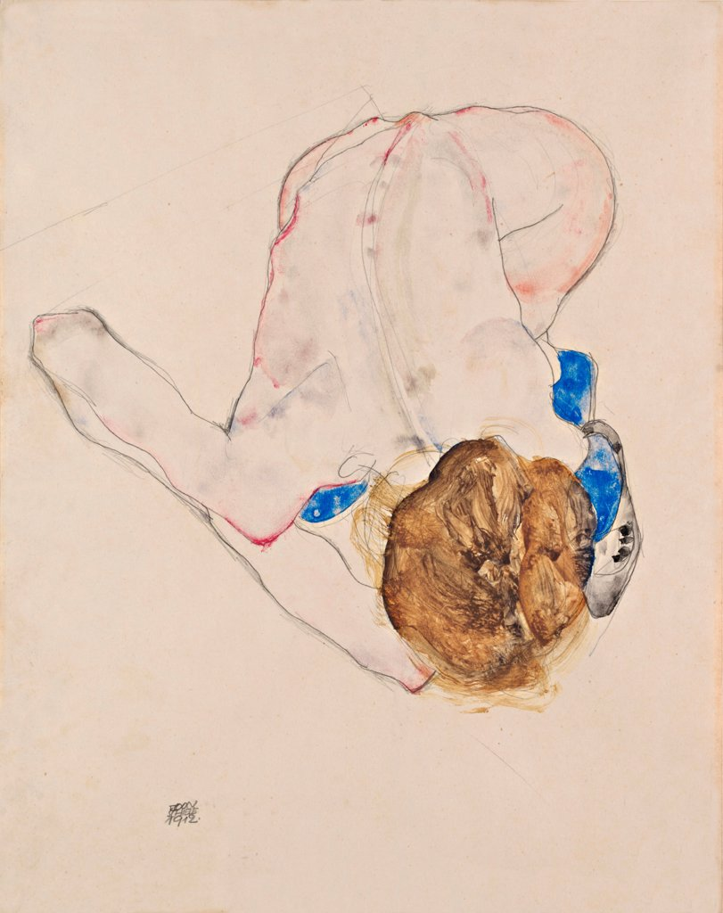 Nude with Blue Stockings, Bending Forward by Schiele, Egon (1890_1918)/ Leopold Museum, Vienna/ 1912/ Austria/ Gouache on paper/ Expressionism/ 37,5x28,9/ Nude painting : Stock Photo