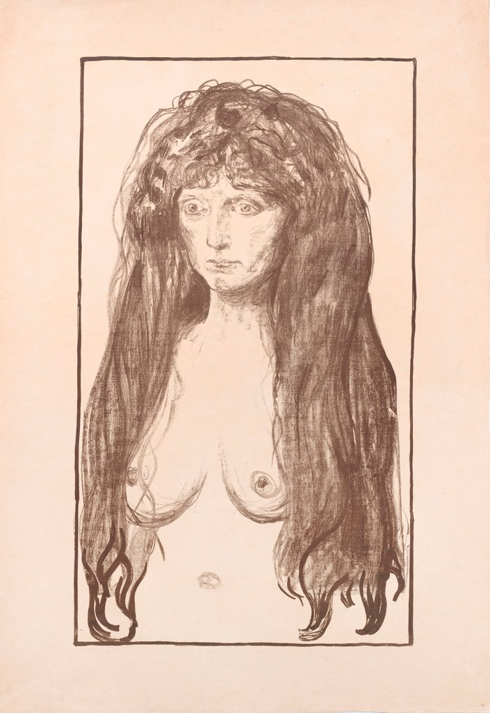 The Sin by Munch, Edvard (1863-1944)/ Leopold Museum, Vienna/ 1902/ Norway/ Lithograph/ Expressionism/ 85,5x58,2/ Portrait,Mythology, Allegory and Literature : Stock Photo