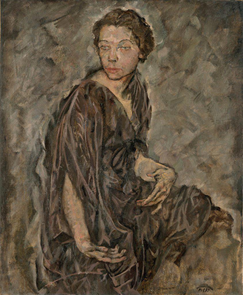 Portrait of Tilla Durieux by Oppenheimer, Max (1885-1954)/ Leopold Museum, Vienna/ 1912/ Austria/ Oil on canvas/ Expressionism/ 95,5x78,9/ Portrait : Stock Photo
