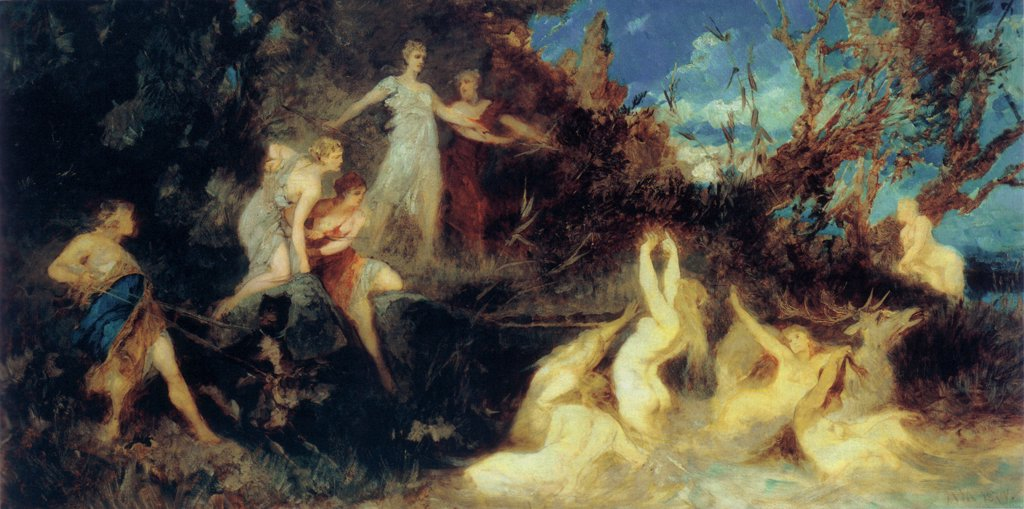 Stock Photo: 4266-2203 Diana and dancing naiads by Hans Makart, oil on canvas, 1879, 1840-1884, Czech Republic, Brno, Moravska galerie, 84, 8x160