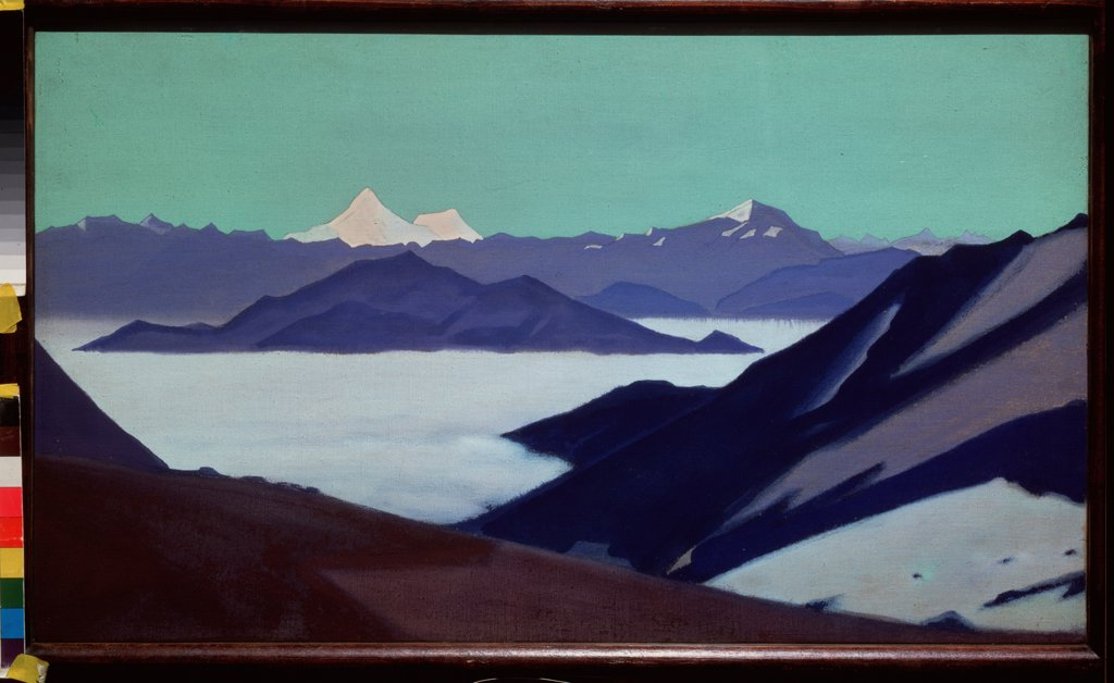 Stock Photo: 4266-22041 The Himalayas. Fog in the mountains by Roerich, Nicholas (1874-1947)/ State Russian Museum, St. Petersburg/ before 1936/ Russia/ Tempera on canvas/ Symbolism/ 46x79/ Landscape