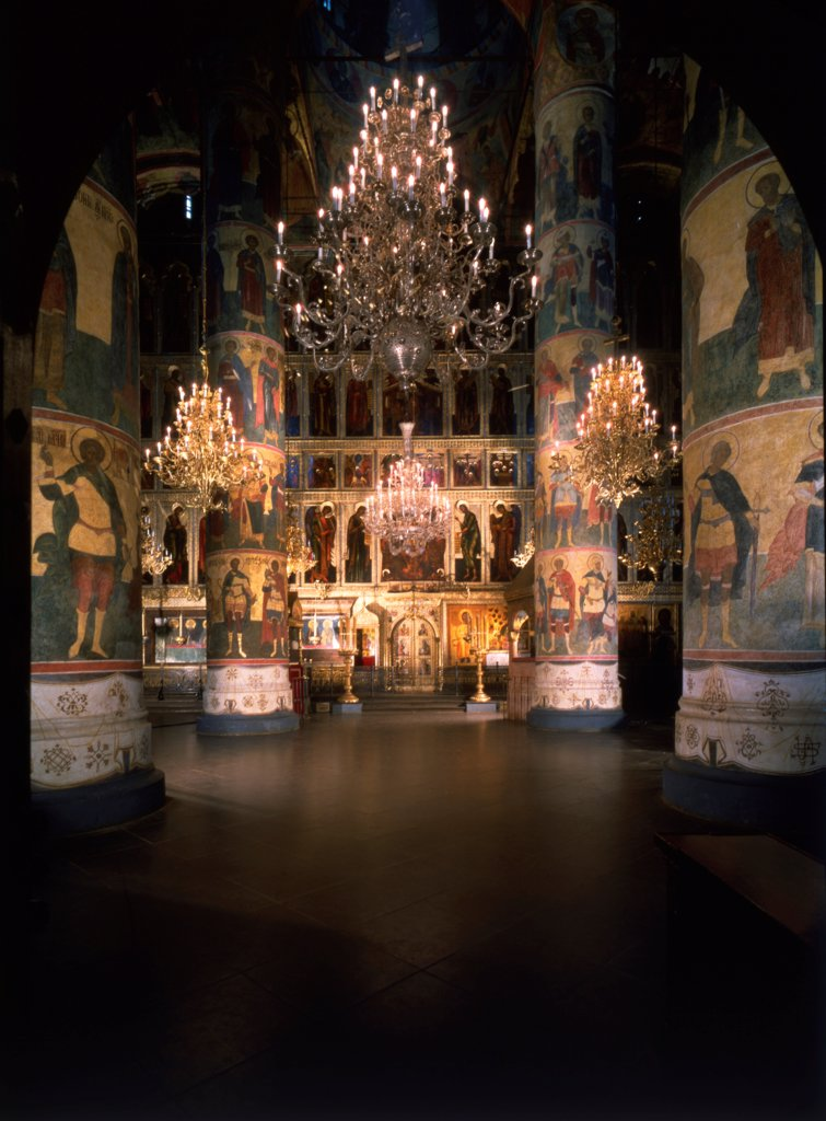 Interior with the iconostasis in the Assumption of the Blessed Virgin Cathedral in the Moscow Kremlin by Old Russian Architecture  / Cathedral of the Dormition in the Kremlin, Moscow/ 14th-15th cen./ Russia/ Photograph/ Old Russian Art/ Architecture, Int : Stock Photo