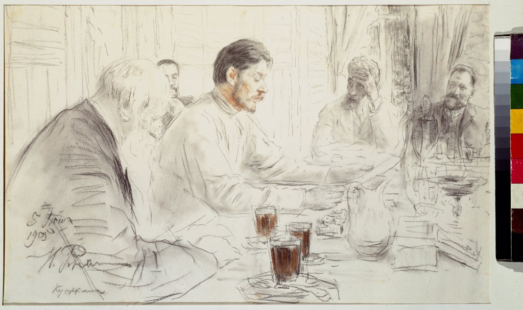 Stock Photo: 4266-22080 The author Maxim Gorky reads his poem 'Children of the sun' by Repin, Ilya Yefimovich (1844-1930)/ Museum of Private Collections in A. Pushkin Museum of Fine Arts, Moscow/ 1905/ Russia/ Pencil, sanguine on paper/ Russian Painting, End of 19th - Early 20t