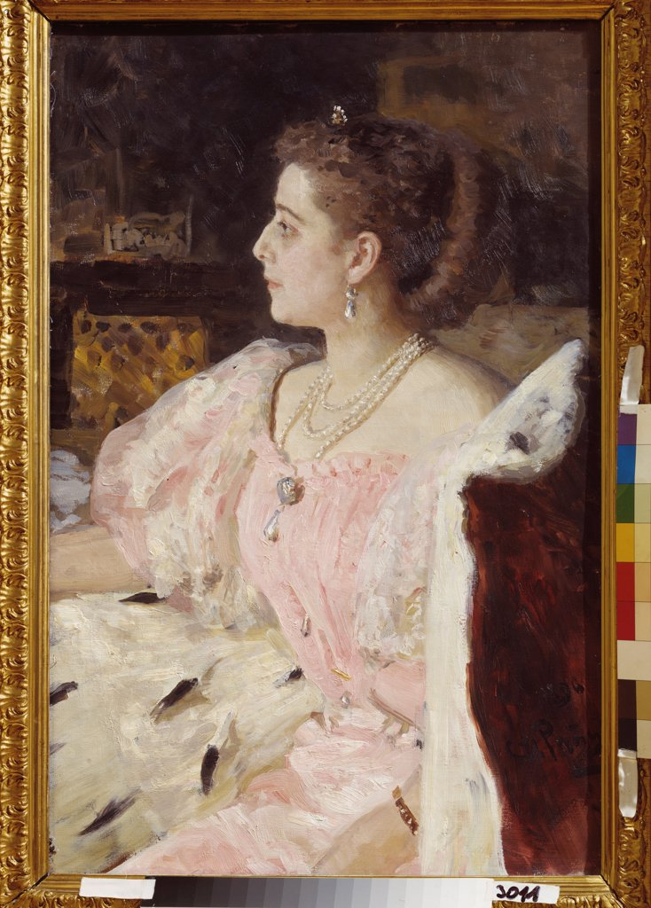 Stock Photo: 4266-22155 Portrait of Countess Nitalia Golovina by Repin, Ilya Yefimovich (1844-1930)/ State Russian Museum, St. Petersburg/ 1896/ Russia/ Oil on canvas/ Russian Painting of 19th cen./ 90x59/ Portrait