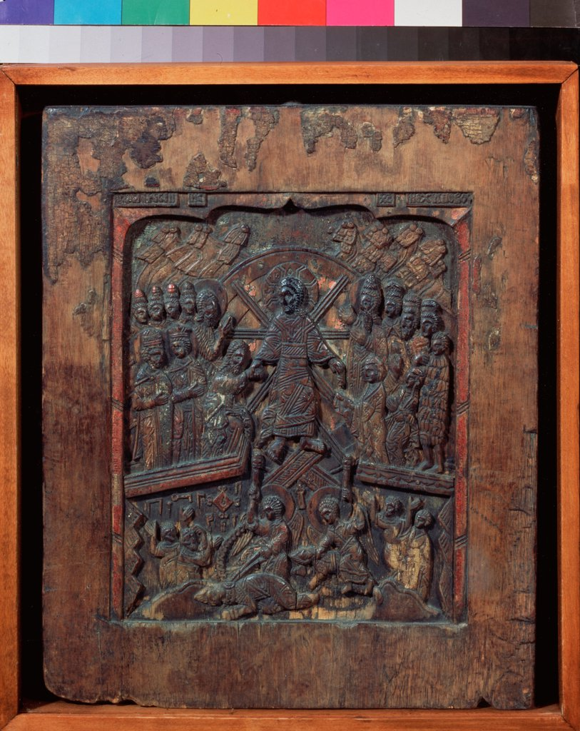 The Resurrection by Russian icon  / Regional Museum of Fine and Applied Art, Smolensk/ 16th century/ Russia, Novgorod School/ Wood, tempera/ Old Russian Art/ 34x28/ Bible : Stock Photo