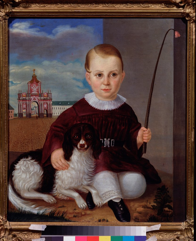 Stock Photo: 4266-22243 Boy with a dog before the Red Gates by Russian master  / State V. Tropinin-Museum, Moscow/ 1840/ Russia/ Oil on canvas/ Russian Painting of 19th cen./ Genre
