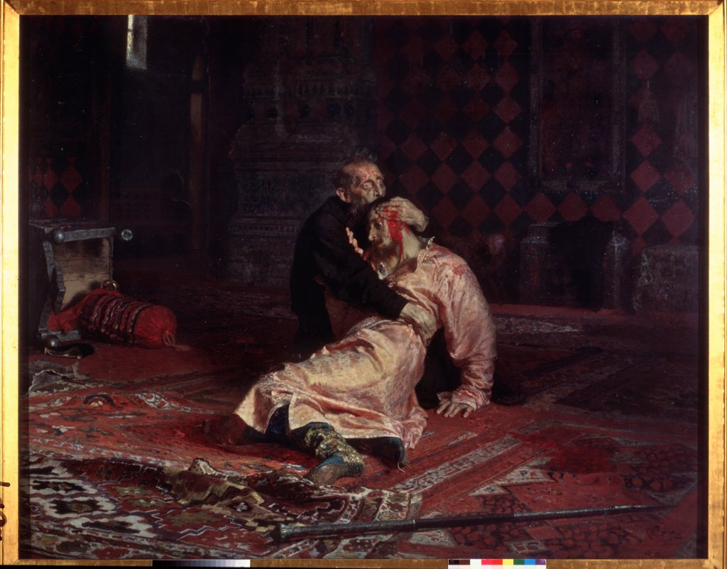 Stock Photo: 4266-22264 Ivan the Terrible and his son Ivan on Friday, November 16, 1581 by Repin, Ilya Yefimovich (1844-1930)/ State Tretyakov Gallery, Moscow/ 1885/ Russia/ Oil on canvas/ Russian Painting of 19th cen./ 199,5x254/ Genre
